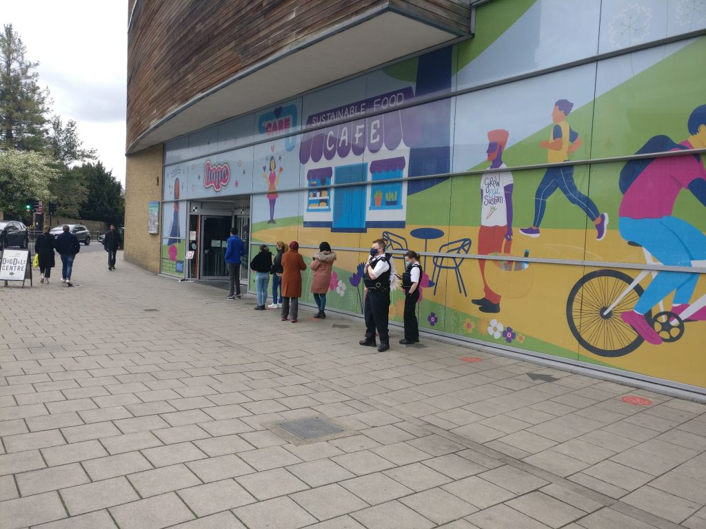 """""""Vaccine"""" queue at the Dugdale Centre, Enfield"""